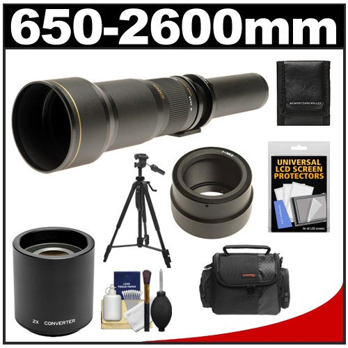 Rokinon 650-1300Mm F/8-16 Telephoto Lens & 2X Teleconverter (= 650-2600Mm) With Case + Tripod + Accessory Kit For Sony Alpha Nex-C3, Nex-F3, Nex-5, Nex-5N, Nex-7 Digital Cameras