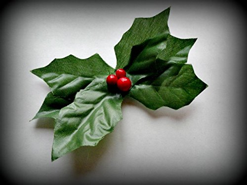 HANDMADE HAIR CLIP Boutique Style Holly Berry Bush Bow Green Red Flower Plant Christmas New Years Eve Winter