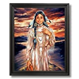Native American Indian Girl Sunset By Lake Home Decor Wall Picture Black Framed Art Print