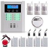 SUNLUXY® Kit Alarme Sans Fil GSM/PSTN Écran LCD Hôte d'alarme + Détecteur de Fumée + 3 Détecteur Infrarouge + Sirène +4 Télécommande Sécurité Maison