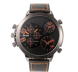 Men Big Face Watch Military Style Analog Quartz Durable Fashion Casual Black PU Leather Band Wrist Watch