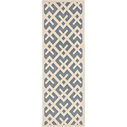 Safavieh Courtyard Collection CY6915-233 Blue and Bone Indoor/ Outdoor Runner, 2 feet 3 inches by 12 feet (2\'3\