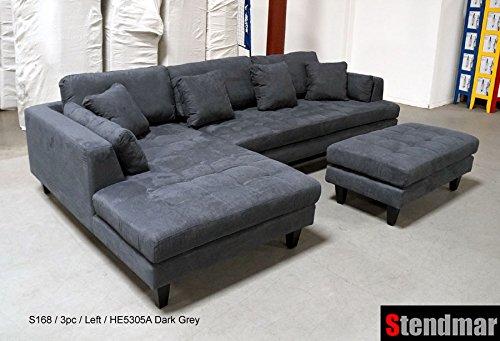 3pc euro design dark gray microfiber sectional sofa set for Gray sectional sofa amazon