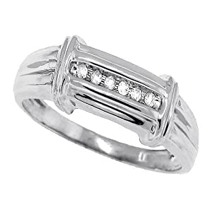 0.08 ct TW Channel Set Men's Diamond Band,14kt Gold Plated Sterling Silver-10
