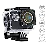 4K Action Camera VEAMA 1080P 60fps Ultra HD Sports Camera Impermeabile Sport Cam Action Fotocamera Videocamera DV 2.0 pollici Video Camera Car Helmet Camcorder con largo di 170 Gradi di Angolo 2pcs Batterie e Accessori (Nero)