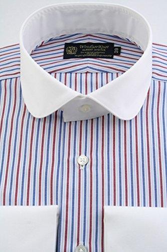 (ウィンザーノット アルバートアベニュー) Windsorknot Albert Avenue クレリック&ダブルカフス ラウンドカラー ドレスシャツ 白地にレッド&ブルーのマルチストライプ 100番手双糸 (細身)1920s rd4323