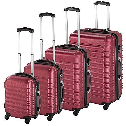 TecTake Set di 4 valigie ABS rigido trolley valigia bagaglio a mano borsa elegante Rosso vino