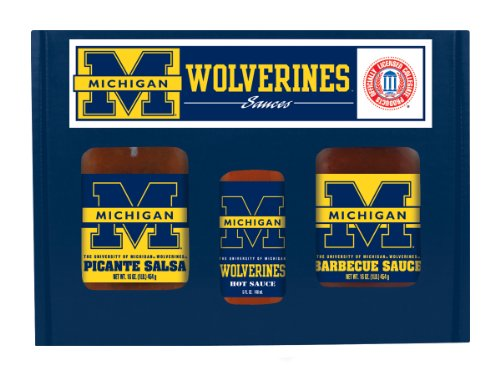 Michigan Wolverines TailGate Set (Hot Sauce, BBQ and Salsa)