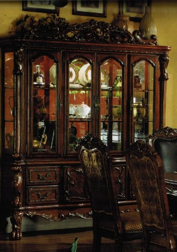 Cheap China Cabinet Buffet Hutch in Antique Brown Finish (VF_AM12155)