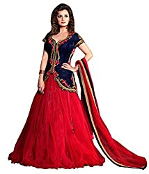 MAHAVIR FASHION Women's Blue & Red Designer Georgette Semi-stitched Lehenga Choli (Leh_544_Freesize_Mirza B)
