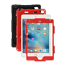 iPad Mini 4 Case, ACEGUARDER New Design [Rainproof] [Dirtproof] [Shockproof] [Kids Friendly] Case with Stand, Super Protection Case for iPad Mini 4 (2015) (Black/Red)