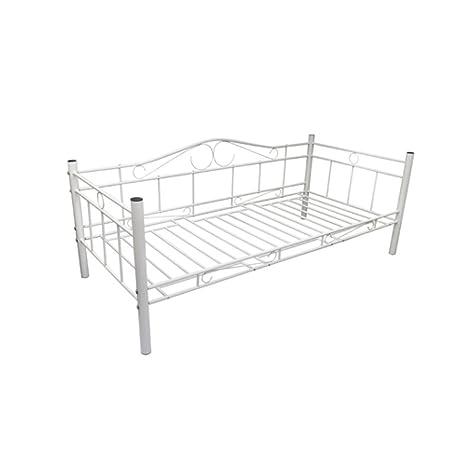 Cama individual de metal 90 x 200 cm Blanca