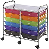 Blue Hills Studio Double Storage Cart with 12 Drawers, 25-1/2-Inch by 26-Inch by 15-1/2-Inch, Multi-Color