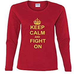 Keep Calm And Fight On Missy Fit Long Sleeve T-Shirt