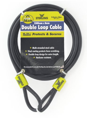 Sterling 825C 8 x 2500mm Double Loop Vinyl Coated Multi-Stranded Steel Cable