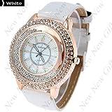 New Arrival ~ Fashion Round Case Quartz Watch Wristwatch Timepiece with Rhinestones Decor for Lady Female - White