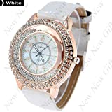 New Arrival ~ Fashion Round Case Quartz Watch Wristwatch Timepiece with Rhinestones Decor for Lady Female – White