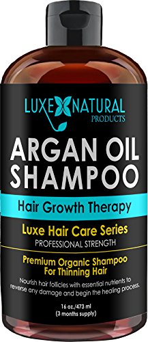 Luxe Natural Products Argan Oil Shampoo Professional Strength - Hair Growth Therapy 16 oz - Hair Loss, Regrowth, Thinning, & Aging - Infused With All Natural for Both Men & Women - 3 Months Supply (Natural Aging compare prices)
