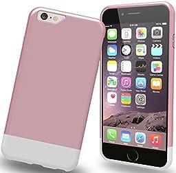 Stalion Slider Series Non-Slip Matte-UV Texture Hard Case for iPhone 6s -  Pink Rose/Powder White