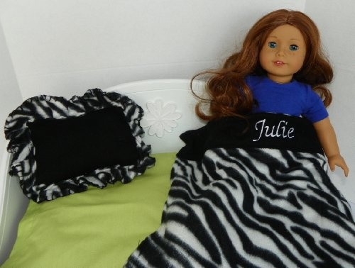 Personalized Zebra Print Blanket & Pillow for American Girl Doll Julie Amazon.com