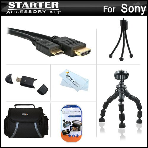 Starter Accessories Kit For The Sony Cyber-Shot Dsc-Hx300, Dsc-Hx300/B Digital Camera Includes Deluxe Carrying Case + 7 Flexible Tripod + Micro Hdmi Cable + Usb High Speed 2.0 Sd Card Reader + Lcd Screen Protectors + Mini Tripod + Microfiber Cloth