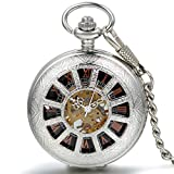 JewelryWe 懐中時計 アンティーク風 手巻き式 ネックレス 時計,ペンダント ウォッチ ポケットウォッチ,透かし彫り スケルトン,合金,バレンタイン プレゼント