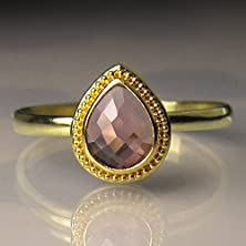 buy 22K Gold Granulated Rose Cut Pink Sapphire Engagement Ring