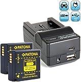 Bundlestar Akku Ladegerät 4 in 1 inkl. Ladeschale für BLG10 E + 2x Bundlestar * Akku Ersatzakku für Panasonic DMW BLG10E BLG10 passend zu Panasonic Lumix DMC GF6 GF7 GX7 LX100 -- NEUHEIT mit Micro USB-Anschluss