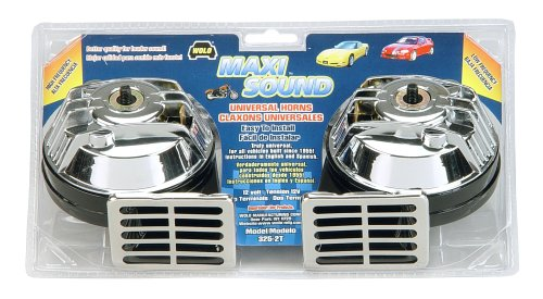 Wolo Model  325-2T Maxi Sound Universal Chrome Low And High Tone Replacement Horns - 12 Volt
