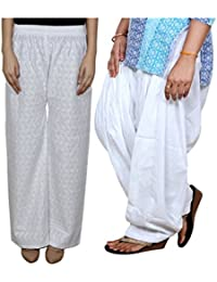 Indistar Women Full Cotton Chikan White Palazzo With Cotton White Full Patiala Salwar - Free Size (Pack Of 1 Palazzo...