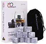 DB-Tech Set of 9 Grey Whisky Chilling Rocks Gift Set With A Muslin Pouch - Chill Your Whiskey with these rocks Without Dilution - Rocks Carved out of 100% Pure Soapstone