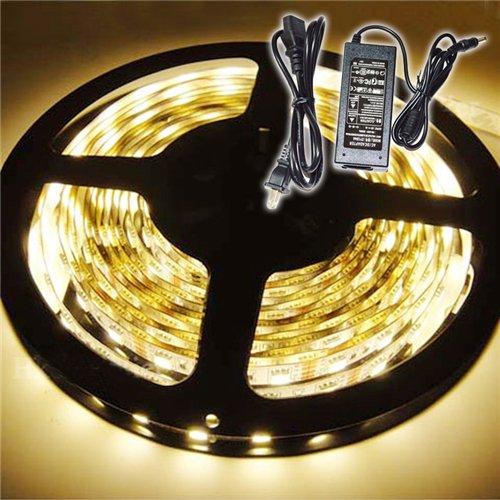 Led Strip Lighting Kit, Inextstation(Tm) 5M 5050 Smd Flexible Waterproof 300 Led Strip Light With Power Adapter - Warm White