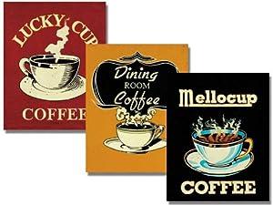 Set of 3 Vintage Coffee Advertising Prints Retro Kitchen Catherine Jones 8 x 10