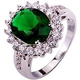 Yazilind Women's Ring with Emerald Quartz White Topaz Gemstone Silver UK Size