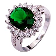 Yazilind Women's Ring with Emerald Qu…