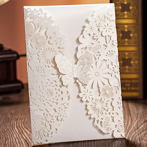 Krismile 12 3D Fancy Design Pocket Butterfly Wedding Invitation Cards for Winter