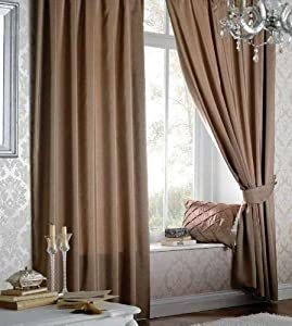 Superb Quality 90x90 Latte Faux Silk Pencil Pleat Fully Lined Curtains *tur* by Curtains