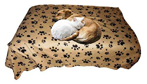 Dog blanket fleece throw beige paw print cozy animal for Animal planet dog blanket