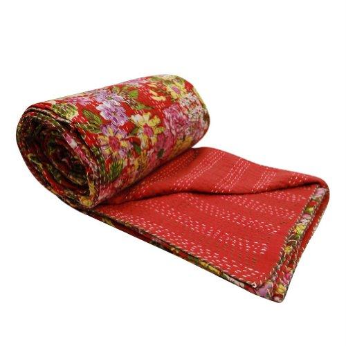 decorativo tamaño reina roja kantha edredón estampado de flores hechas a mano gudri / reverseble