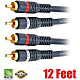 iMBAPrice® 12 feet 2RCA Male to 2RCA Male High Quality Home Theater Audio Cable (12 Feet, Black)