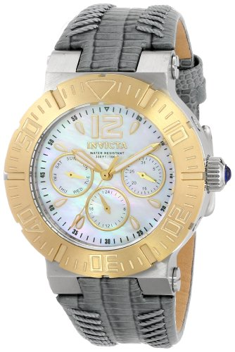 Invicta Angel Women's Quartz Watch with White Dial  Analogue display on Blue Leather Strap 14740