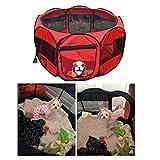 Anten Tierlaufstall Welpenlaufstall Hundehütte Hütte für Hunde, Katzen 85*85*61cm 600D Oxford Tuch, Gitter(Rot)