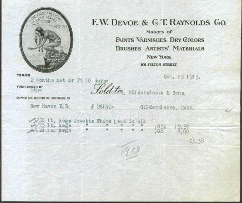 F W Devoe & C T Raynolds Paint Varnish NY billhead 1913 (Devoe Paint compare prices)