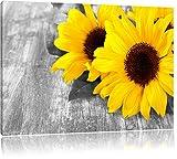 schne-Sonnenblumen-auf-Holztisch-schwarzwei-Format-80x60-auf-Leinwand-XXL-riesige-Bilder-fertig-gerahmt-mit-Keilrahmen-Kunstdruck-auf-Wandbild-mit-Rahmen-gnstiger-als-Gemlde-oder-lbild-kein-Poster-ode