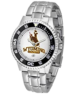 Wyoming Cowboys NCAA Competitor Mens Watch (Metal Band) by SunTime