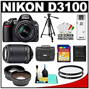 Nikon D3100 Digital SLR Camera & 18-55mm G VR DX AF-S Zoom Lens with 55-200mm VR Lens + 16GB Card + .45x Wide Angle & 2.5x Telephoto Lenses + (2) Filters + Tripod + Accessory Kit