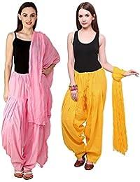 Monil Exclusives Womens Cotton Full Patiala Salwar With Dupatta