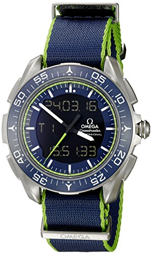 Omega Men's 'Speedmaster' Swiss Quartz Titanium and Canvas Casual Watch, Color:Blue (Model: 31892457903001) (Omega Watch 45mm compare prices)