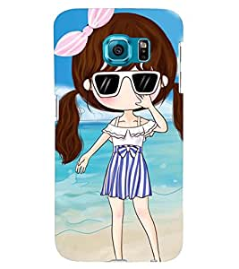 Printvisa Sweet With Sunglasses On A Beach Back Case Cover for Samsung Galaxy S6::Samsung Galaxy S6 G920