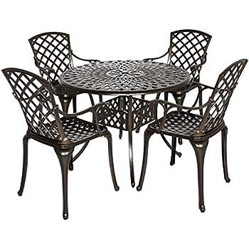 Best Choice Products 5-Piece Cast Aluminum Patio Dining Set w/4 Chairs, Umbrella Hole, Lattice Weave Design - Brown